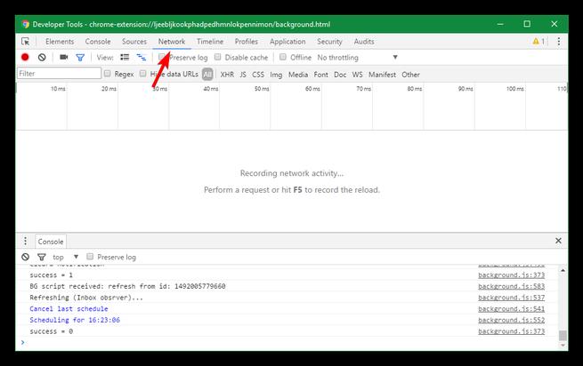 Consola de desarrollador de extensiones de Google Chrome
