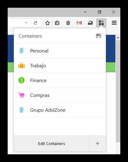 Contenedores Firefox test Pilot