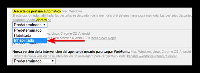 Desactivar recarga automatica de pestañas Google Chrome