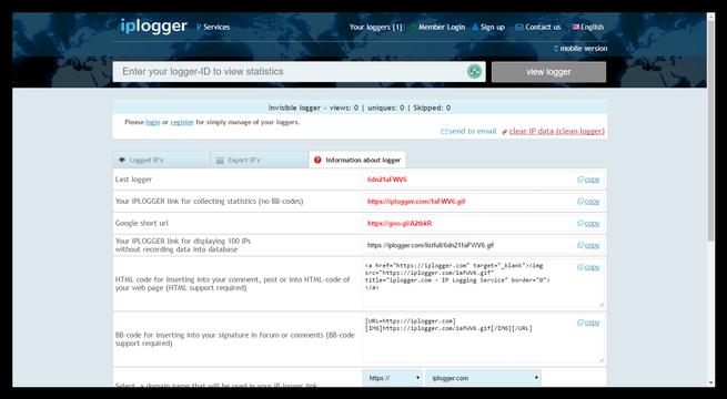 IPlogger - Crear un LoggerID con una URL
