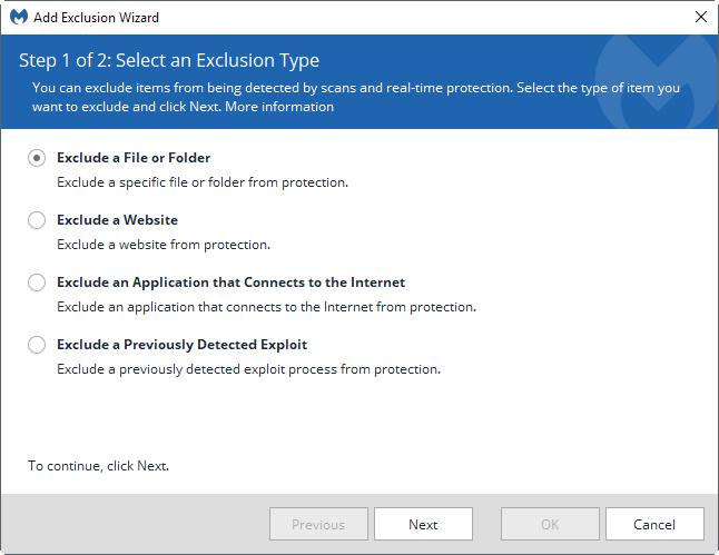 Malwarebytes excluir proceso de detección