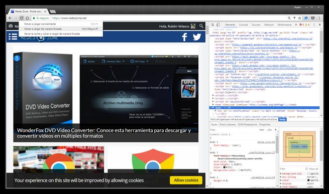 Menu oculto recargar web borrar cache Google Chrome