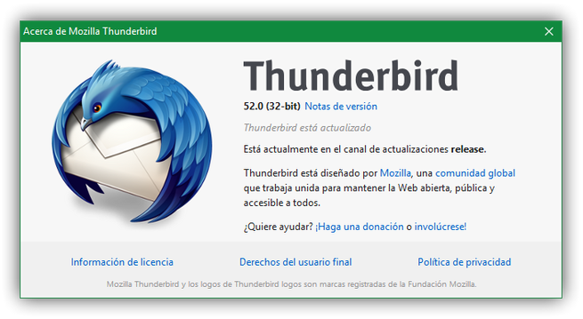 Mozilla Thunderbird 52