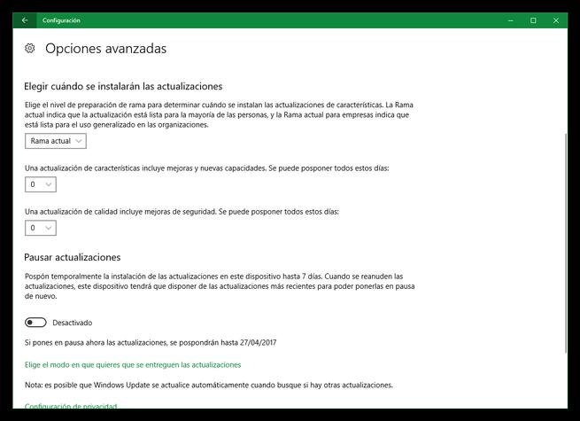 Posponer actualizaciones de Windows 10 en Creators Update