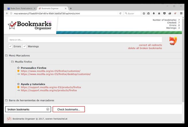 Bookmarks Organizer - Marcadores redirigidos