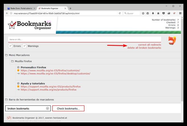 Bookmarks Organizer - Optimizar y limpiar marcadores Firefox
