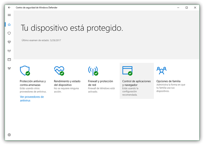 Centro de seguridad Windows 10 Windows Defender