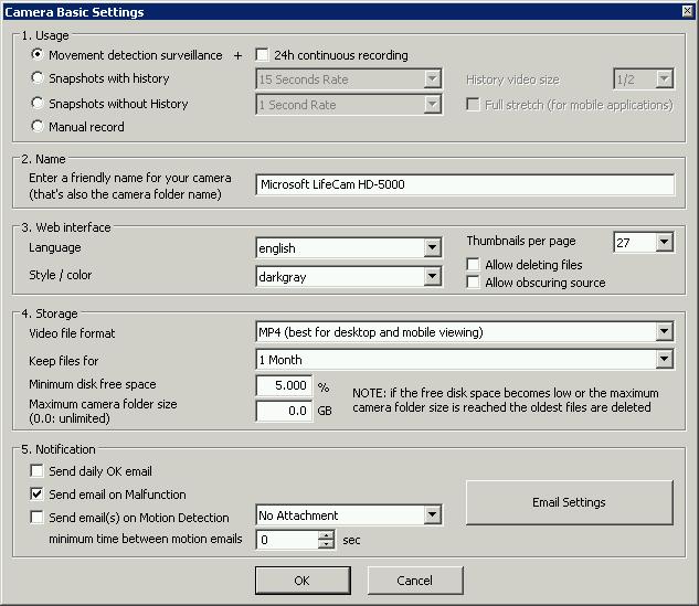 Configuración ContaCam