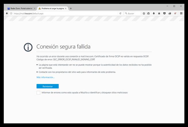Firefox - Conexión segura fallida