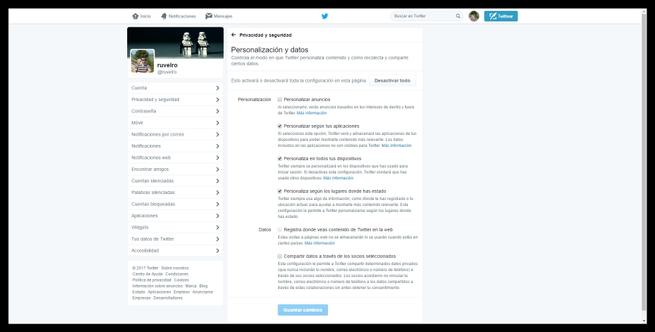 Nuevas políticas de privacidad de datos Twitter mayo 2017