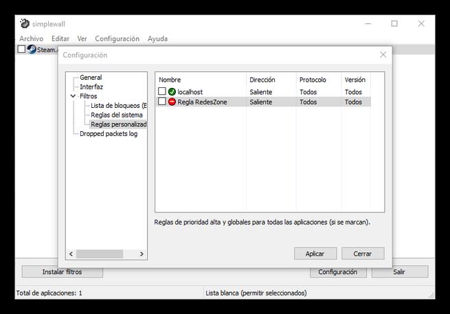 Regla de bloqueo de puerto en Firewall de Windows con Simplewall