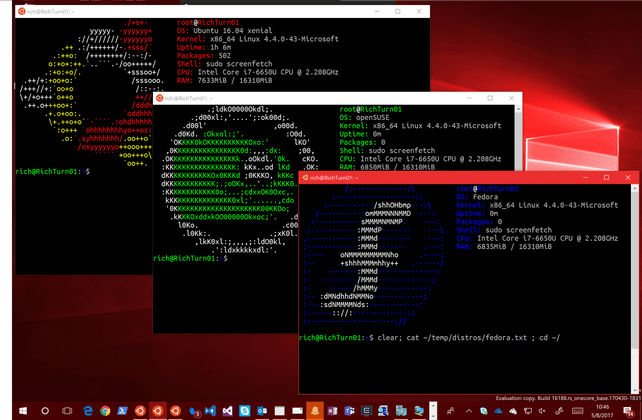 Subsistema Linux para Windows 10 Fall Creators Update - Ubuntu SUSE Fedora