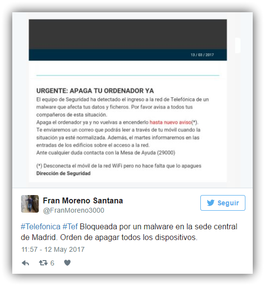 Tweet ataque ransomware Telefonica BBVA 2
