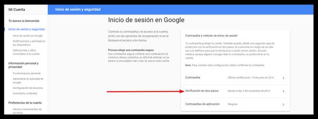 Verificación dos pasos cuenta de Google