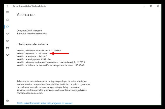 Versión Motor Windows Defender