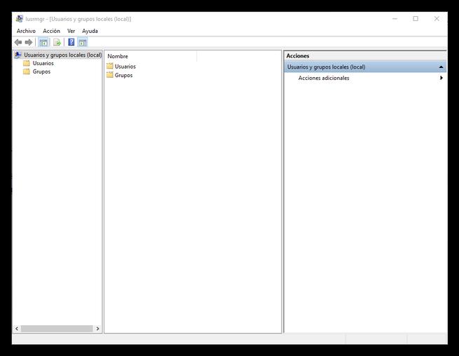 Administrar usuarios y grupos en WIndows 10