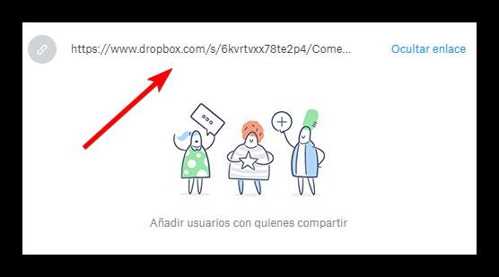 Compartir archivo por URL Dropbox