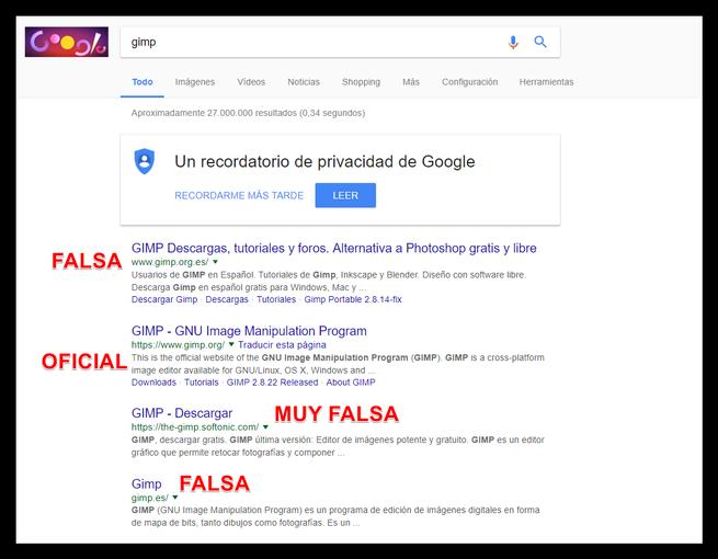 Descargar GIMP en Google