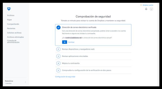 Dropbox - Comprobación de seguridad - Correo