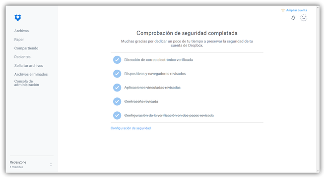 Dropbox - Comprobación de seguridad completada