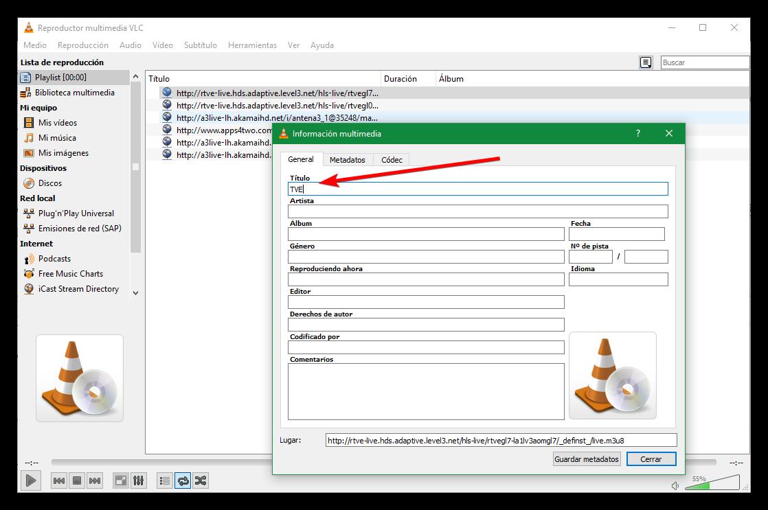 Crea una lista de reproducción de VLC a base de enlaces URL