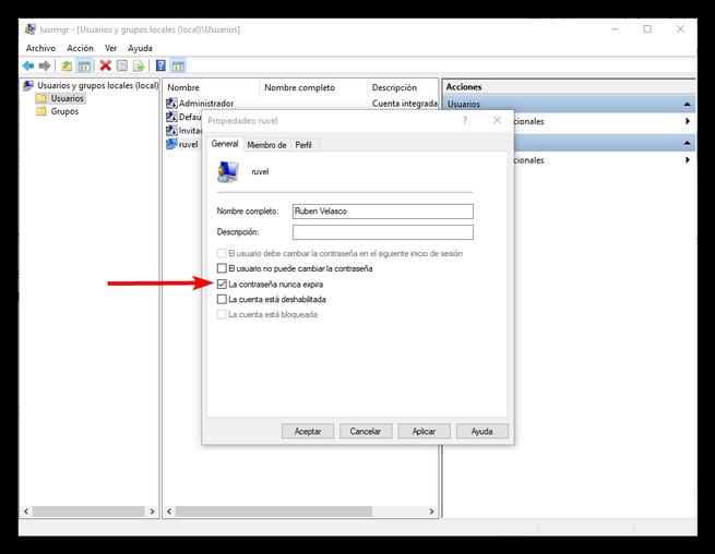 Habilitar fecha de expiración de la contraseña de Windows 10