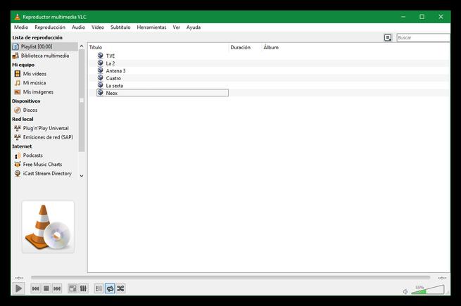 Lista reproducción VLC basada en enlaces lista para guardar