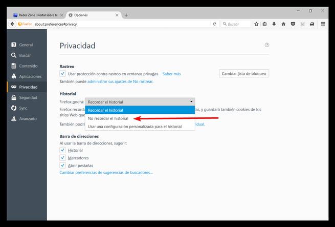 Olvidar historial Mozilla Firefox