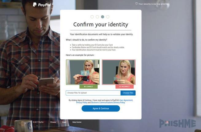 PayPal - Phishing foto tarjeta
