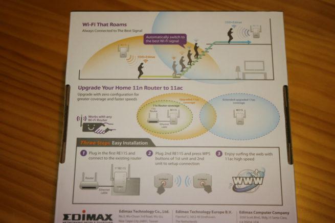 Conoce la parte trasera de la caja del sistema Wi-Fi Mesh Edimax Gemini RE11S