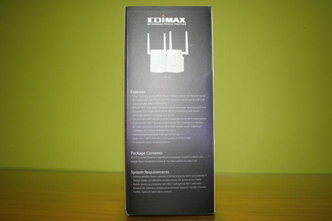 Lateral derecho de la caja del sistema Wi-Fi Mesh Edimax Gemini RE11S