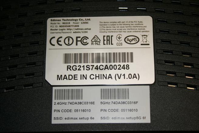 Pegatina del router neutro Edimax Gemini RE21S