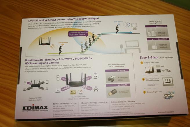 Trasera de la caja del router neutro Edimax Gemini RE21S