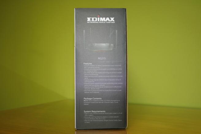 Lateral izquierdo de la caja del router Edimax Gemini RE21S