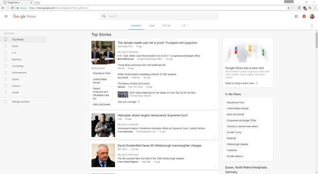google news rediseño grafico de la interfaz