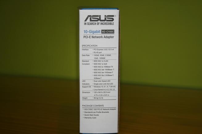 Especificaciones técnicas de la tarjeta de red 10G ASUS XG-C100C