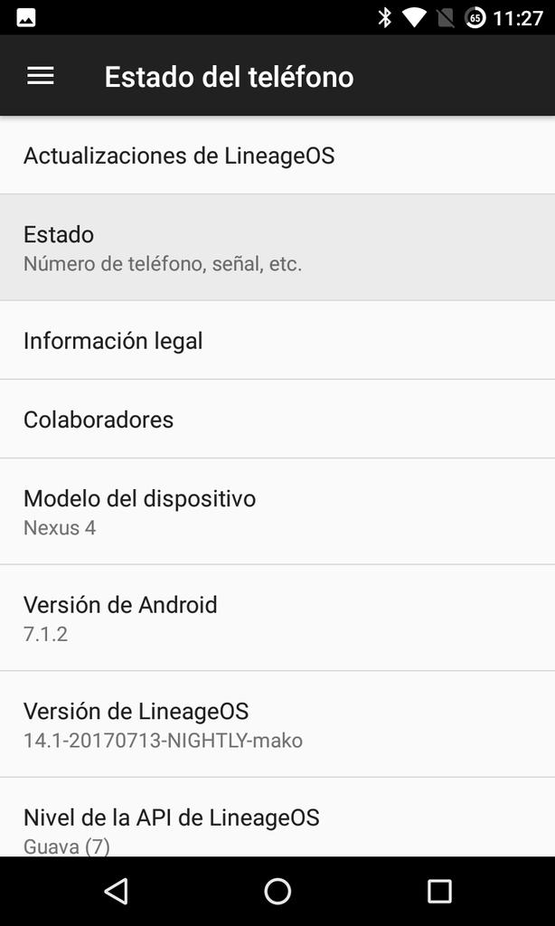 Acerca de teléfono Android