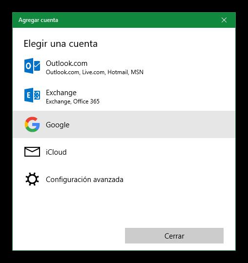 Agregar cuenta de Google a Windows 10