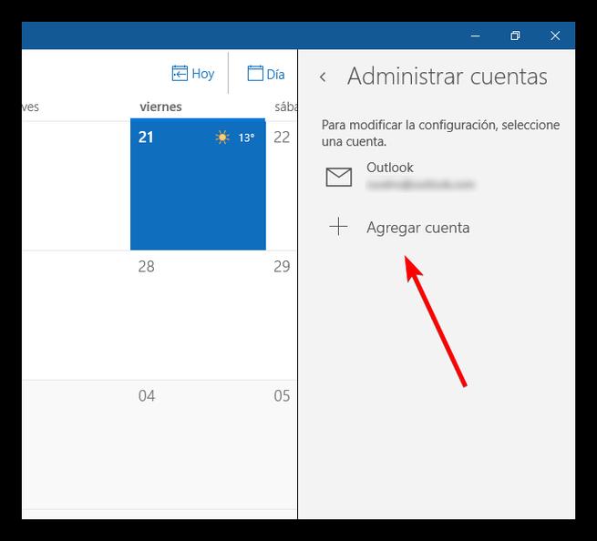 Agregar nueva cuenta calendario Windows 10