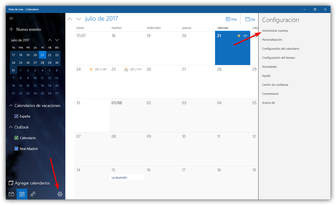 Configuración calendario Windows 10