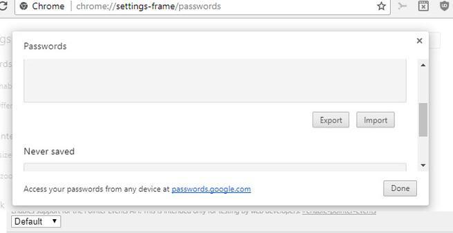 Exportar e importar contraseñas con Google Chrome