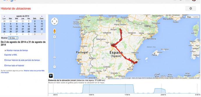 Historial de localizaciones de Google