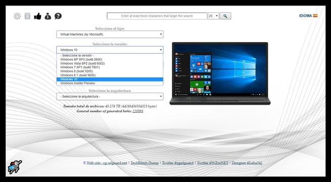Descargar imágenes máquina virtual Windows