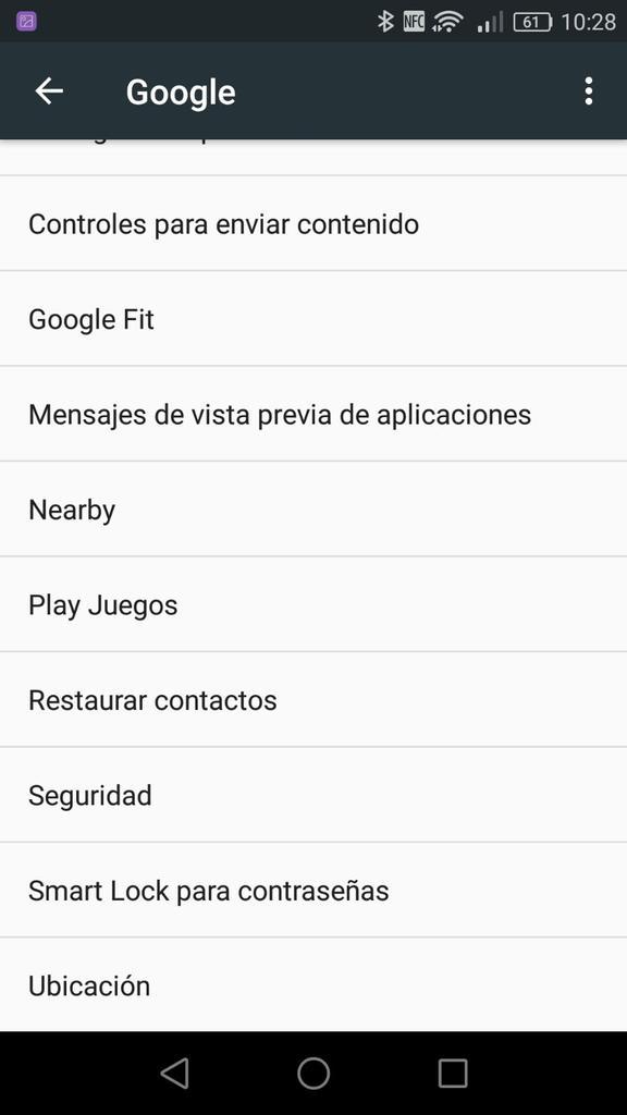 Opciones de cuenta de Google en Android