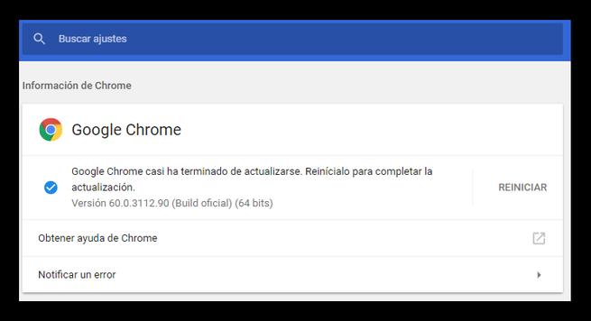 Versión Google Chrome instalada