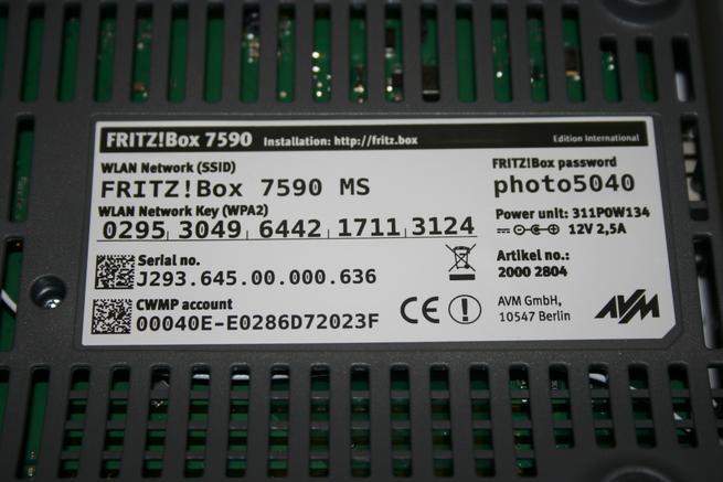 Pegatina del router FRITZ!Box 7590 con clave Wi-Fi y clave de acceso