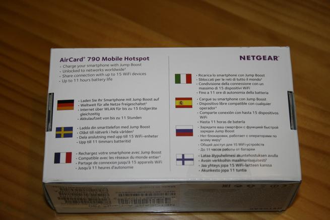 Trasera de la caja del MiFi 4G NETGEAR AirCard AC790 de alto rendimiento