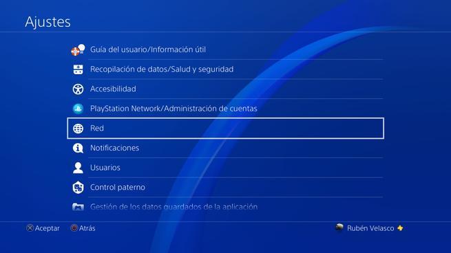 Menú Ajustes PS4