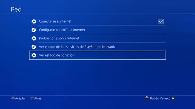 Menú Conexión PS4