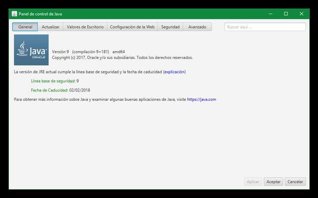 Panel de Control Java 9